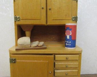 Needs Tlc Vintage 1970s Dollhouse Miniature Wooden Country Kitchen Hutch Hoosier Cupboard Farm Antique Inspired Brass