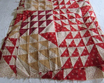 "Antique Vintage FLYING GEESE Quilt TOP To Finish 74x78"" Reds Creams Unusual Pattern & Border Country Rustic Primitive Cottage"