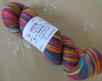One Skein Hand Dyed Artisan Vesper Striping Yarn Exclusive Sock Club August 2015 Colorway Boardwalk Games Knitterly Things 100% Wool