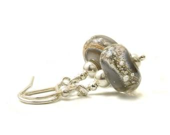 Silver Glass Earrings | Grey Drop Earrings | Lampwork Glass Earrings with Sterling Silver | 'Starlight' Earrings UK