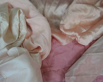 Antique Dress Remnants, Pink Silk and Rayon Scraps, Lingerie, 1910s 1920s 1930s
