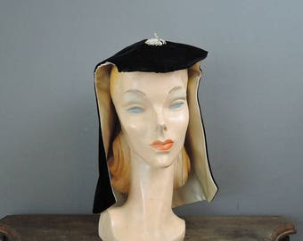 Vintage Hat 1960s Velvet Hood, Dramatic Evening Cocktail Party Hat, fits any Size