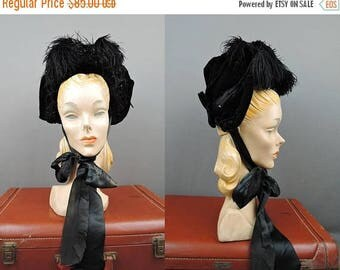 20% Sale - Victorian 1800s Velvet Hat, Black Beaded Bonnet with Feathers XS or Girl's