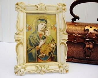 vintage madonna religious icon print in plastic frame