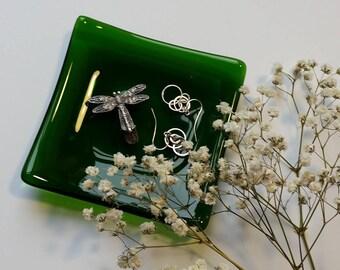 Green Glass Jewelry Dish - Spoon Rest - Trinket Dish - Soap Dish - Christmas Decor