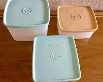 Vintage 3 Tupperware Square Food Storage Containers, Excellent Condition