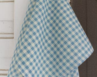 Vintage Gingham Scarf With White Stitching