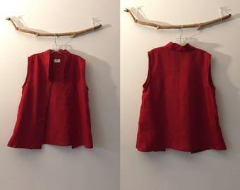 minimalist red linen vest ready to wear size M or L / red linen vest / linen crop vest /