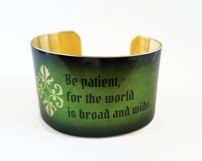 Romeo and Juliet William SHAKESPEARE brass cuff bracelet Be patient