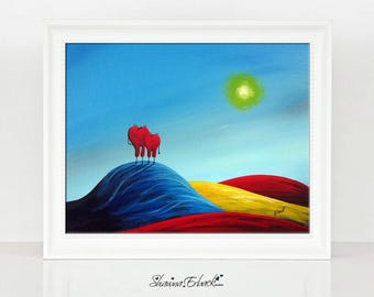 Their Happy Place - Gift For Wife - Limited Edition Print - Heart Art - Gift Idea - Signed by Artist - Erback Art - Love - For Her - For Him