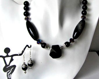 Black Onyx  Black Agate Necklace and Earrings Set, Choker, Dangle Earrings,  Beaded Necklace, Crystals, Gemstones,  16 inch + extender #1295