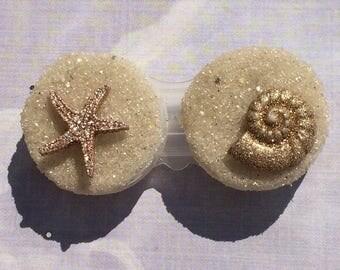 Starfish Seashell Beach Sand Key West Mermaid Contact Lens Case Holder Eye Lenses Plastic Kawaii