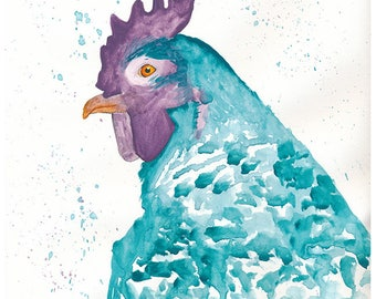 Teal And Purple Rooster