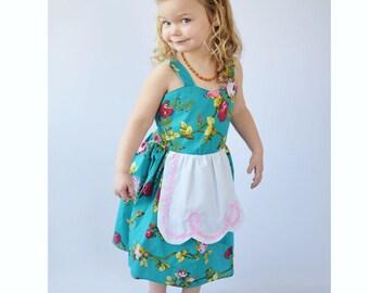 Turquoise floral dress, girls floral dress, apron dress, Retro dress, girls dress, apron dress, rockabilly dresses for girls, toddler dress