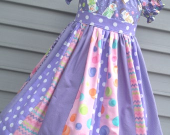 Ready to Ship Custom Boutique Purple Pink  Snowman S'Mores Christmas Girl Dress Will Fit Size 5 or 6 or 7