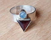 Sterling Silver and Garnet with Opal Colored Geometric Ring - Size 6 - Bella Mia Beads - READY TO SHIP