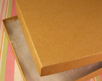 STOREWIDE SALE 20 Pack Cotton Filled Kraft Brown Color Jewelry Gift and Retail Boxes 6.25 X 5.5 X 1 Inch Size