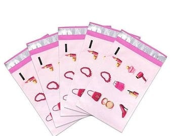 New Years Sale 25 Pack Tear Proof Make Up Design Plastic Poly Mailing Self Stick Closing Envelopes  6X9 Inches
