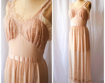 Carlita | Vintage 1950s Nightgown 50s Lingerie Slip Latte Nylon with Lace Ribbon Tie and Ruffles Glamorous Long Length with Flounce Bust 34""