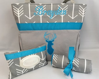 ARROWS and DEER  ...  Diaper Bag .. Changing Pad  ...  WiPE Cover Set ... Gray and TURQUOISE
