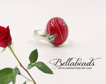 Cremation Jewelry, Memorial Jewelry, Memorial Flower Petal Jewelry, Funeral Flower Jewelry, Memorial Gift Idea, Penny Ring