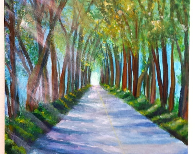 Kauai Tree Tunnel Original Acrylic Painting from Kauai Hawaii by Marionette Taboniar