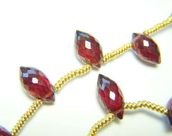 Mozambique Garnet Puff Marquise Briolettes - Full Strand - 7.5 to 9mm - 8 Inches