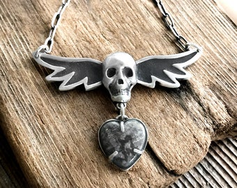 Winged skull necklace in silver and concrete with native silver heart, skull jewelry, Valentines gift for her, concrete jewelry