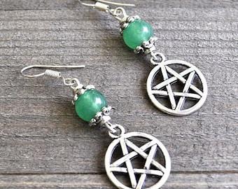 ON SALE Silver Star Earrings, Pentagram Earrings, Wicca Earrings, Pagan Earrings, Tribal Earrings, Pentacle Earrings, Green Aventurine Gemst