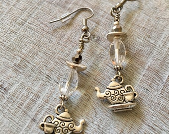 Crystal Brillance With Teapots Charms Dangle Earrings