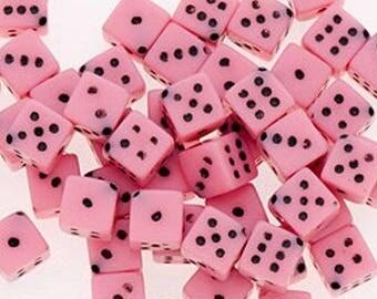10 Mini Pink Dice Beads