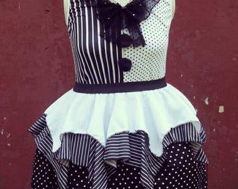 VK Freakshow Babydoll monochrome clown Halloween costume dress plus size