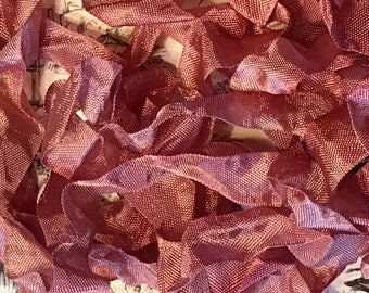 VICTORIAN VELVET Crinkle Seam Binding Ribbon Crinkly Stained Ribbon Hand Dyed by Starry Nites Farm