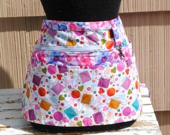 Vendor Apron Server Apron Knitting Pink Teacher Apron Craft Apron Zippered Apron
