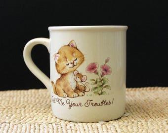 World's Best Listener.  Hallmark vintage 1980s cute  animals mug.