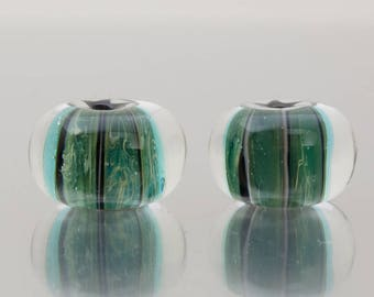 Earring Beads - Stormed - lampwork glass beads (2) - by Jennie Yip