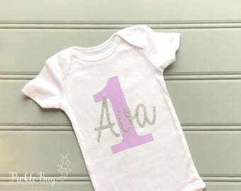 Personalized First Birthday Shirt, Cake Smash Outfit Girl, 1st Birthday Outfit Girl Bodysuit, Lavender and Gold First Birthday Outfit Girl