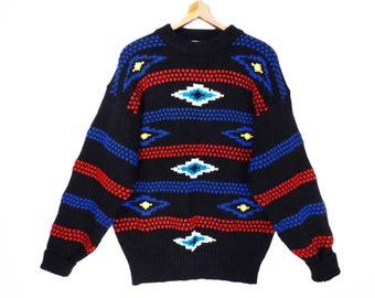 80's vintage SOUTHWEST sweater // black tribal pullover // oversize boyfriend sweater // M L