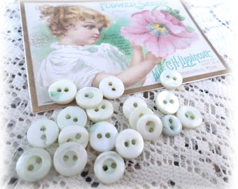 19 Small BABY BLUE PEARL Buttons Vintage Pearl Buttons
