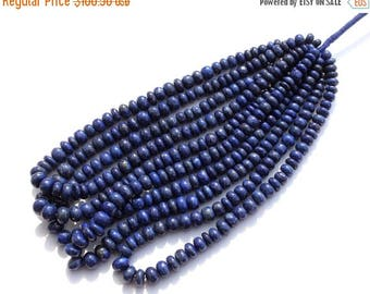"50% Off Sale Full 16"" Natural Lapis Lazuli Smooth Rondelle Beads Size 7 - 10mm Approx Natural Gemstone Beads"