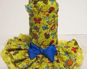 Long waist dog dress in yellow