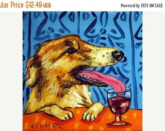 20 % off storewide Borzoi at the Wine Bar Dog Art Tile Coaster Gift