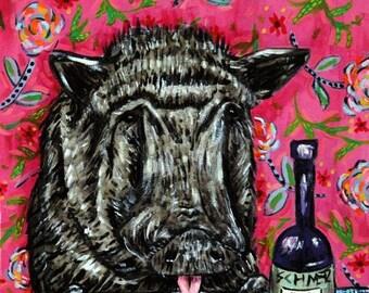 20 % off storewide Pig art PRINT  JSCHMETZ modern abstract folk pop art american ART gift wine
