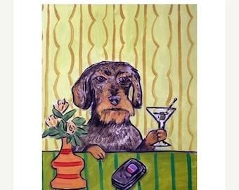 20 % off storewide Dachshund Having a Martini Dog Art Print