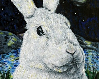 20 % off storewide bunny rabbit , bunny print,  print, bunny at night, modern folk art, rabbit art, rabbit print