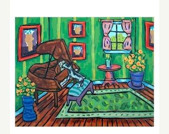 20 % off storewide Schnauzer Playing Piano Dog Art PRINT11x14 JSCHMETZ modern abstract folk pop art american ART gift