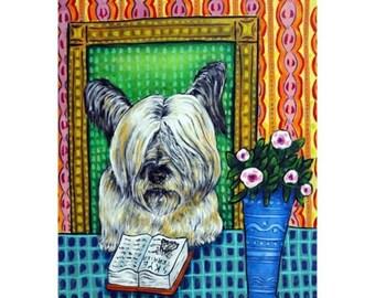20% off storewide Skye Terrier Reading a Book Dog Art Print