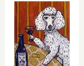 20% off Poodle at the Wine Bar Dog Art Print
