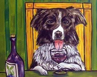 20% off Border Collie at the Wine Bar Dog Art Tile Coaster