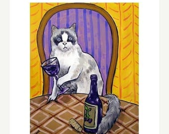 20% off Rag Doll Cat at the Wine Bar Picture Art Print